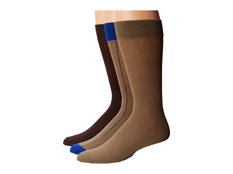Cole Haan - Squares Pinstripes Crew 3-Pack (Khaki/Caf /Black) Men's Crew Cut Socks Shoes