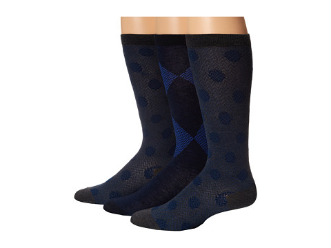 Cole Haan - Shadow Dor Modern Twill Knee High 3-Pack (Blazer Blue) Women's Knee High Socks Shoes