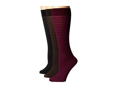 Cole Haan - Horizontal Braid Knee High 3-Pack (Assorted) Women's Knee High Socks Shoes