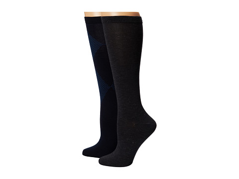 Cole Haan - Modern Twill Argyle 2-Pack Knee High (Medium Grey Heather) Women's Knee High Socks Shoes