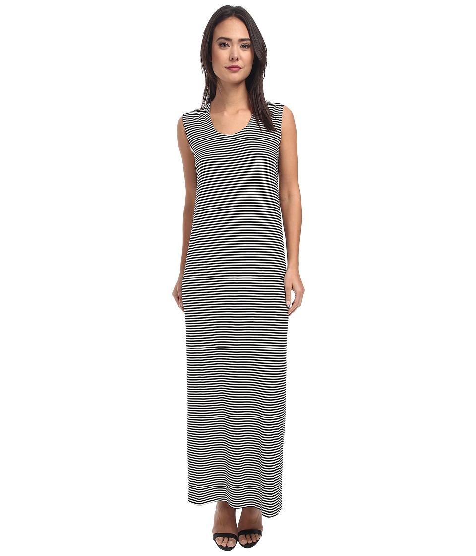 KAMALIKULTURE by Norma Kamali - Go Sleeveless U-Neck Maxi (Black/Off White Stripe) Women's Dress