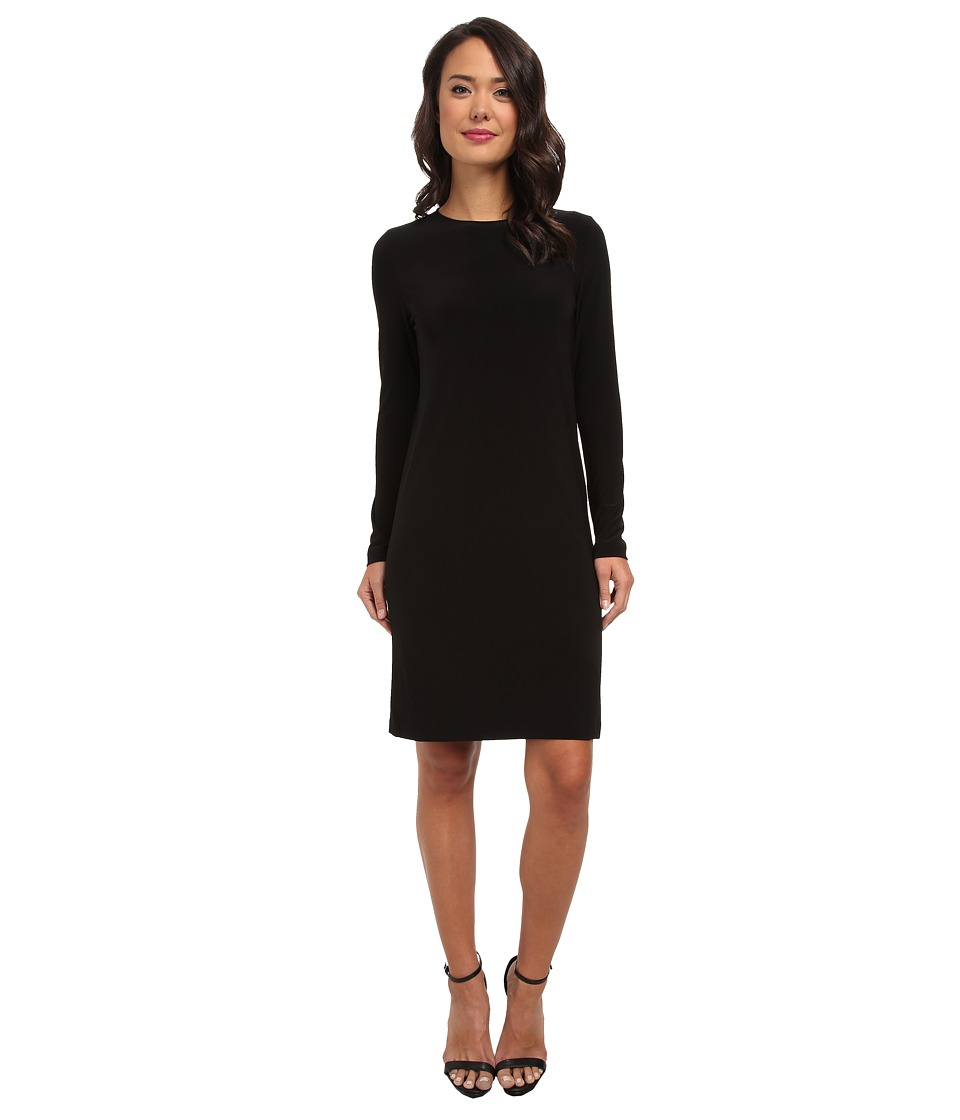 KAMALIKULTURE by Norma Kamali - Go Long Sleeve Crew Neck Dress (Black) Women's Dress