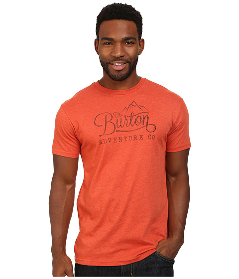 Burton - Mountain Script S/S Recycled Bottle Polyester (Red Clay Heather) Men's T Shirt