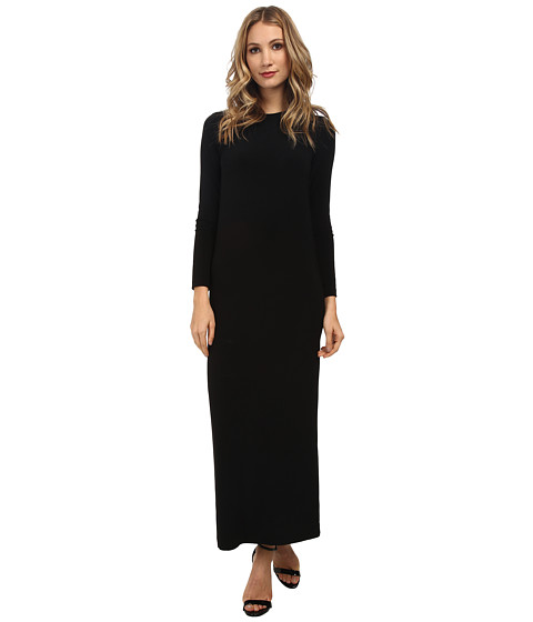 KAMALIKULTURE by Norma Kamali - Go Long Sleeve Crew Neck Maxi (Black) Women