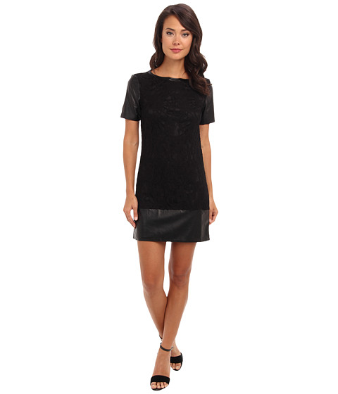Laundry by Shelli Segal - Black Lace T-Shirt Dress (Black) Women's Dress