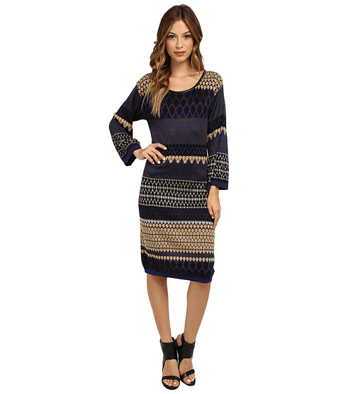 Laundry by Shelli Segal - Sweater Dress (Blue Multi) Women