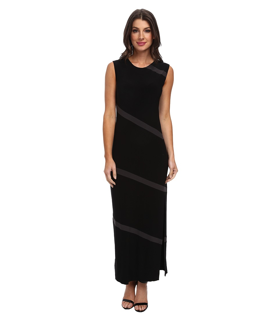 KAMALIKULTURE by Norma Kamali - Spiral Maxi with Slit (Black/Black Mesh) Women's Dress