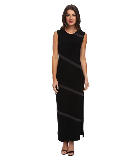 KAMALIKULTURE by Norma Kamali - Spiral Maxi with Slit (Black/Black Mesh) Women