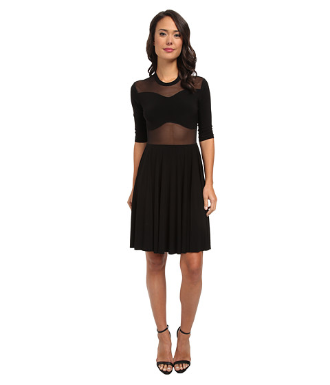 KAMALIKULTURE by Norma Kamali - Peek-A-Boo Mesh Flare Dress (Black/Black Lace) Women's Dress