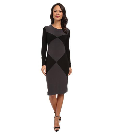 KAMALIKULTURE by Norma Kamali - Double Diamond Sheath Dress (Black/Grey) Women's Dress