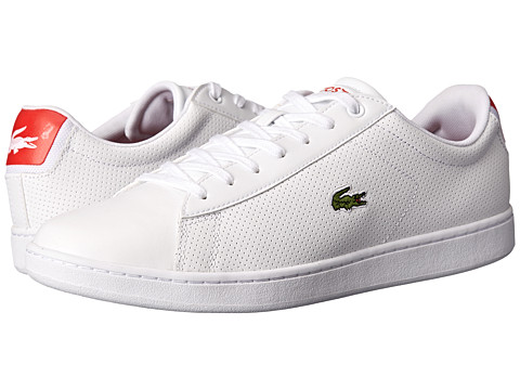 Lacoste - Carnaby Evo NTE (White/Red) Men's Shoes