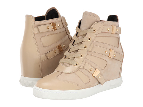Pierre Balmain - Cut Out Wedge Sneaker (Beige) Women's Wedge Shoes