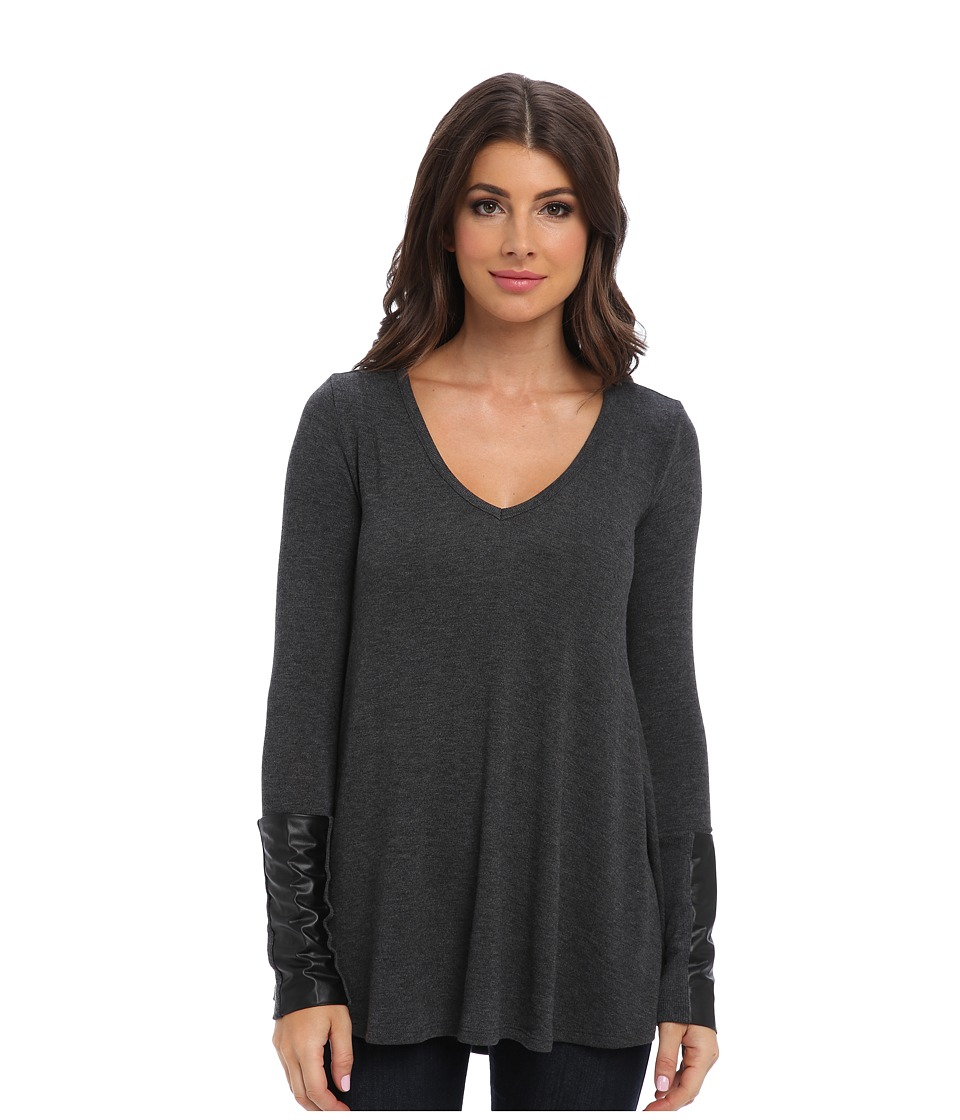 Three Dots - L/S A-Line Top w/ Leather Trim (Charcoal) Women's Long Sleeve Pullover
