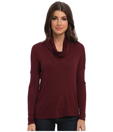 Three Dots - L/S Relaxed Cowl Top (Willow Port) Women's Long Sleeve Pullover