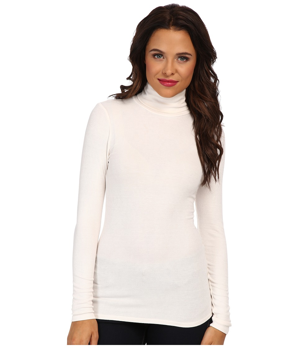 Three Dots - 2x1 Viscose L/S Turtleneck (Gardenia) Women's T Shirt