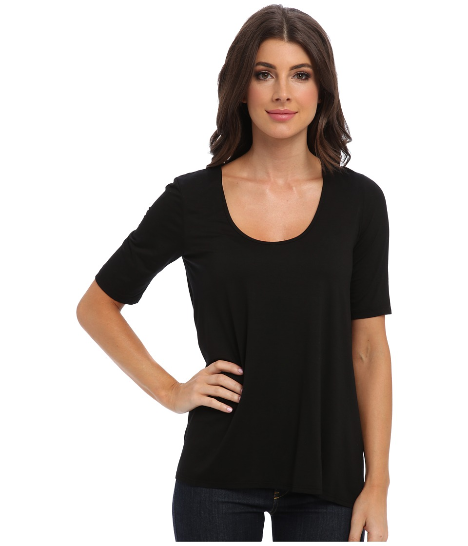 Three Dots 1/2 Sleeve Relaxed High Low Tee (Black) Women's Short Sleeve Pullover