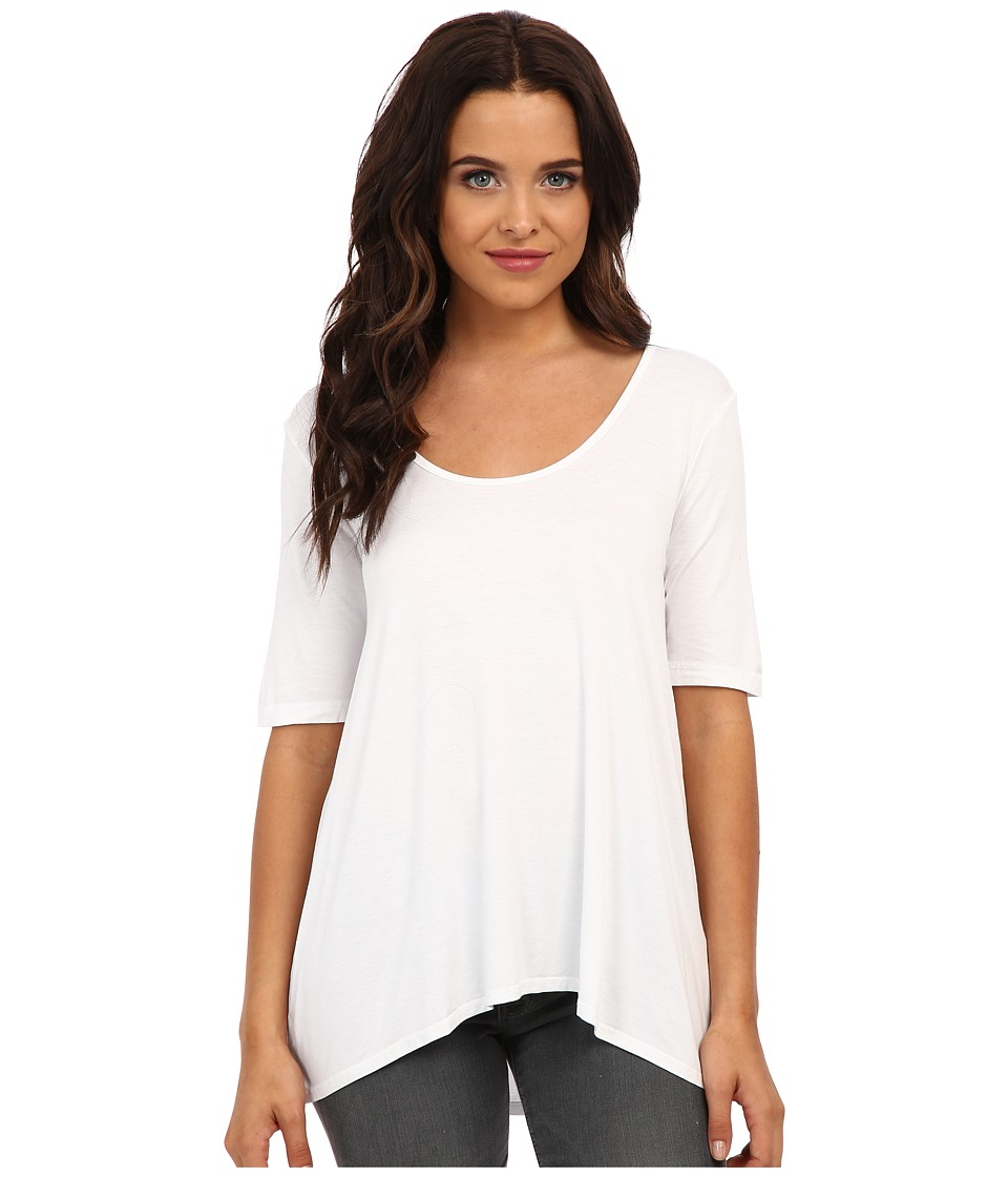 Three Dots - 1/2 Sleeve Relaxed High Low Tee (White) Women's Short Sleeve Pullover