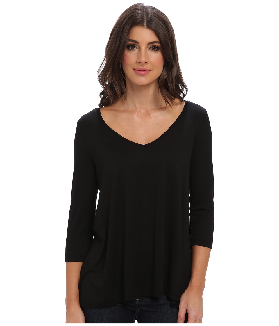 Three Dots - 3/4 Sleeve Wide V-Neck Tee (Black) Women's Long Sleeve Pullover