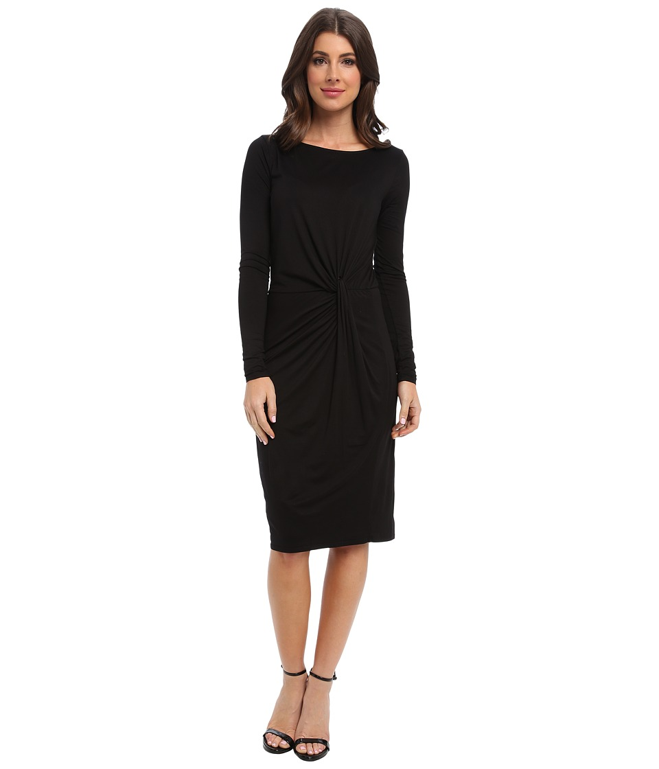 Three Dots - Boatneck L/S Knot Dress (Black) Women's Dress