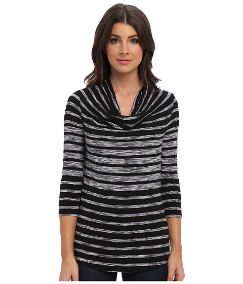 Three Dots - 3/4 Sleeve Dolman Deep V Cowl Top (Black/White Combo) Women
