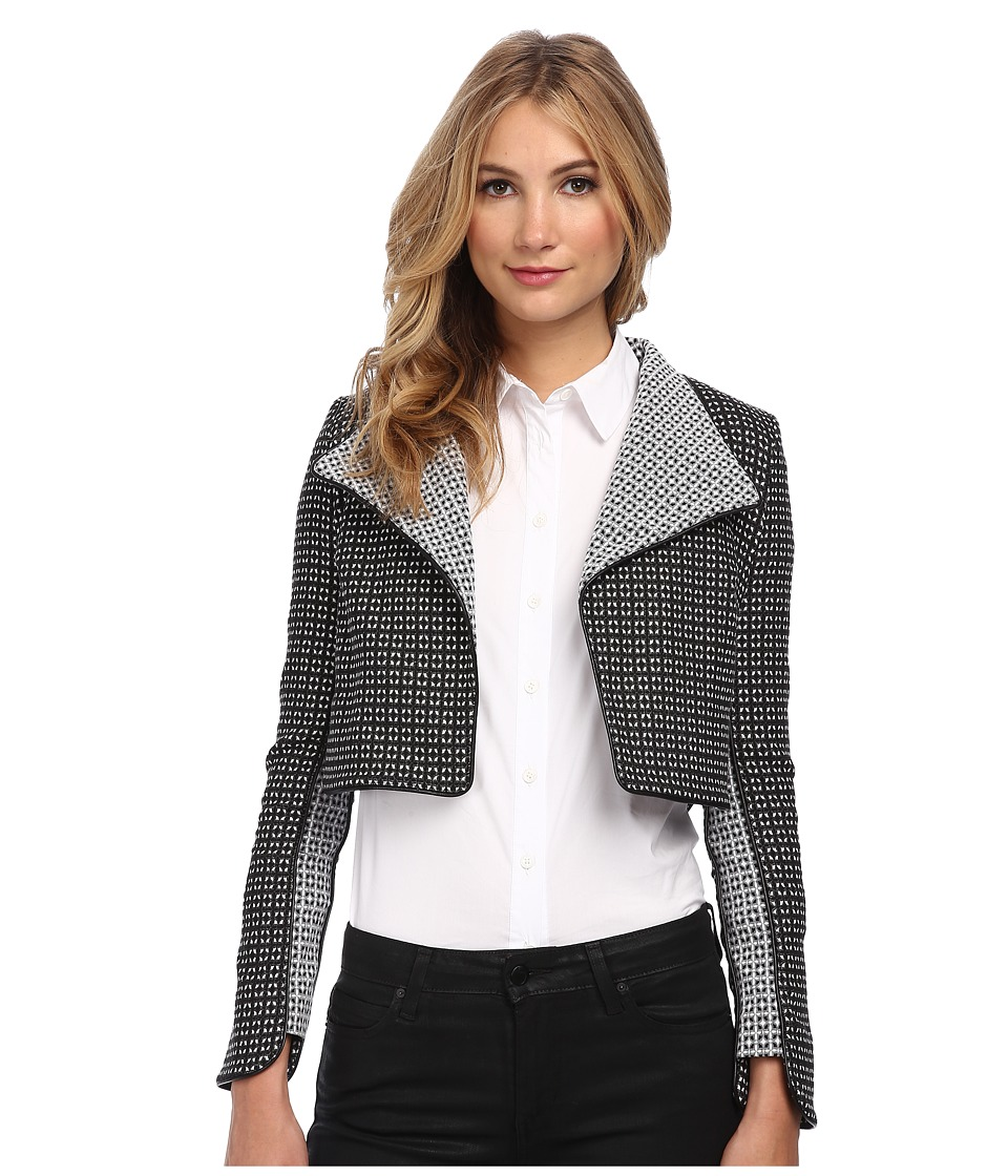 ZAC Zac Posen - Printed Cropped Moto Jacket (Black/White) Women's Jacket