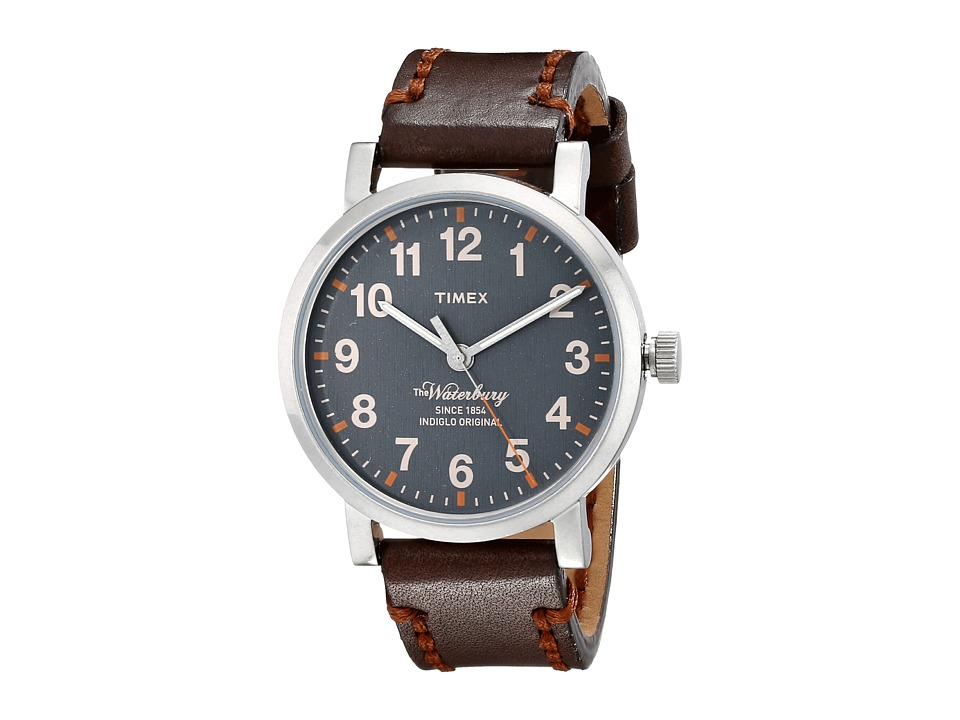 Timex - Originals Waterbury Strap Watch (Gray/Antique Silver Tone/Brown) Watches
