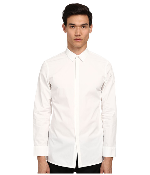 HELMUT LANG - Luxe Spread Collar Shirt (Optic White) Men's Long Sleeve Button Up