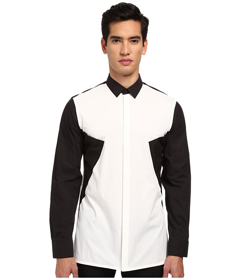 HELMUT LANG - Luxe Angled Pocket Shirt (Optic White) Men's Long Sleeve Button Up