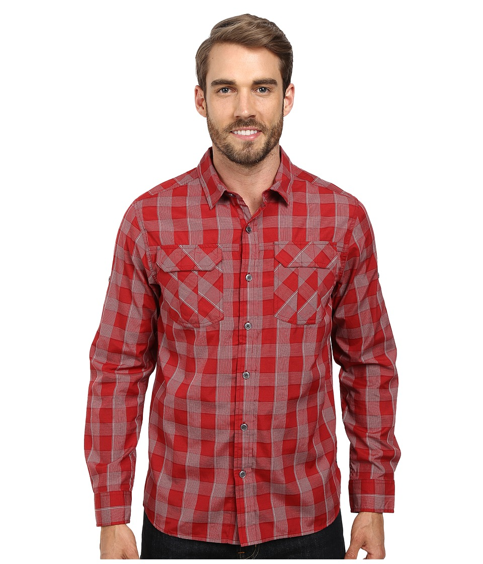 Prana - Terrain L/S (Crimson) Men's Long Sleeve Button Up
