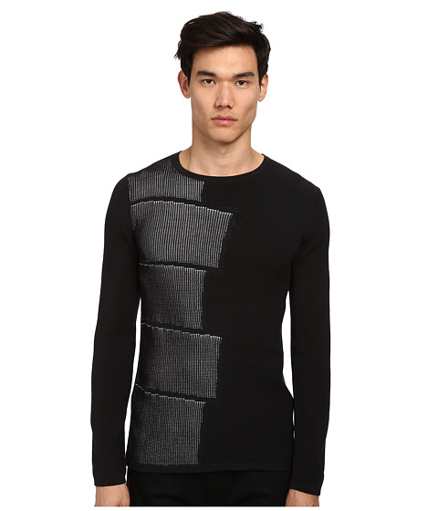 HELMUT LANG - Blocked Intarsia Sweater (Black) Men's Sweater