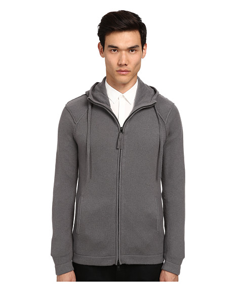 HELMUT LANG - Core Cashmere Hooded Sweater (Charcoal) Men's Sweater