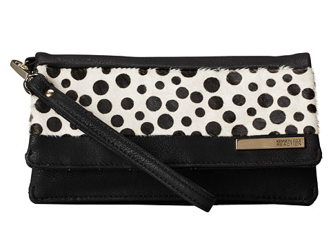 Kenneth Cole Reaction - Wooster Street Double Gusset Flap Clutch (Black/White Polka Dot) Clutch Handbags
