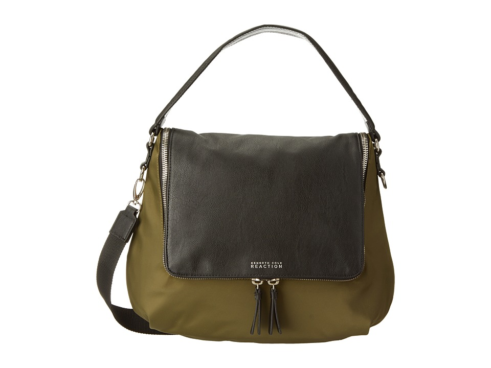 Kenneth Cole Reaction - Avery Hobo (Cadet Olive Nylon w/ Black Buff) Hobo Handbags