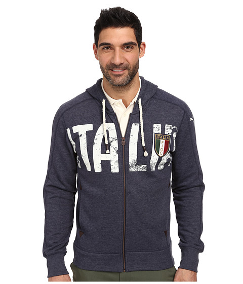 PUMA - FIGC Italia Azzurri Zip-Through Hoodie (Peacoat) Men