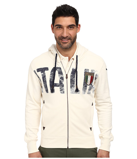 PUMA - FIGC Italia Azzurri Zip-Through Hoodie (Whisper White) Men's Sweatshirt
