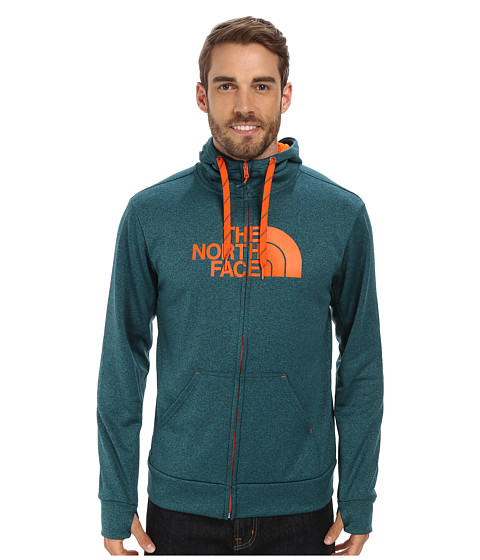 The North Face - Surgent Half Dome Full Zip Hoodie (Deep Teal Blue Heather/Persian Orange) Men's Sweatshirt