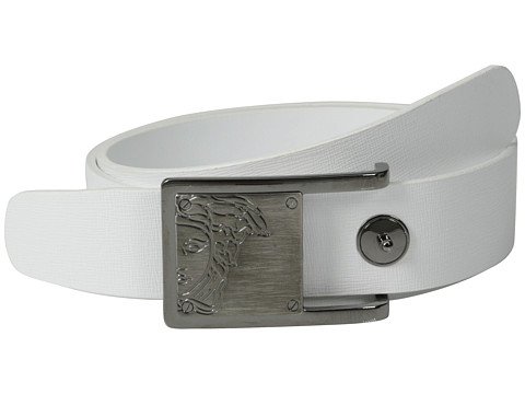 Versace Collection - Gunmetal Medusa Buckle Textured Belt (White) Men's Belts
