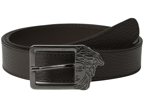 Versace Collection - Square Medusa Textured Belt (Brown) Men