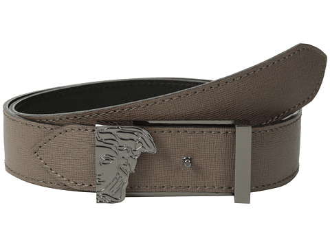Versace Collection - 4-in-1 Reversible Belt and Buckle (Taupe/Black) Men's Belts