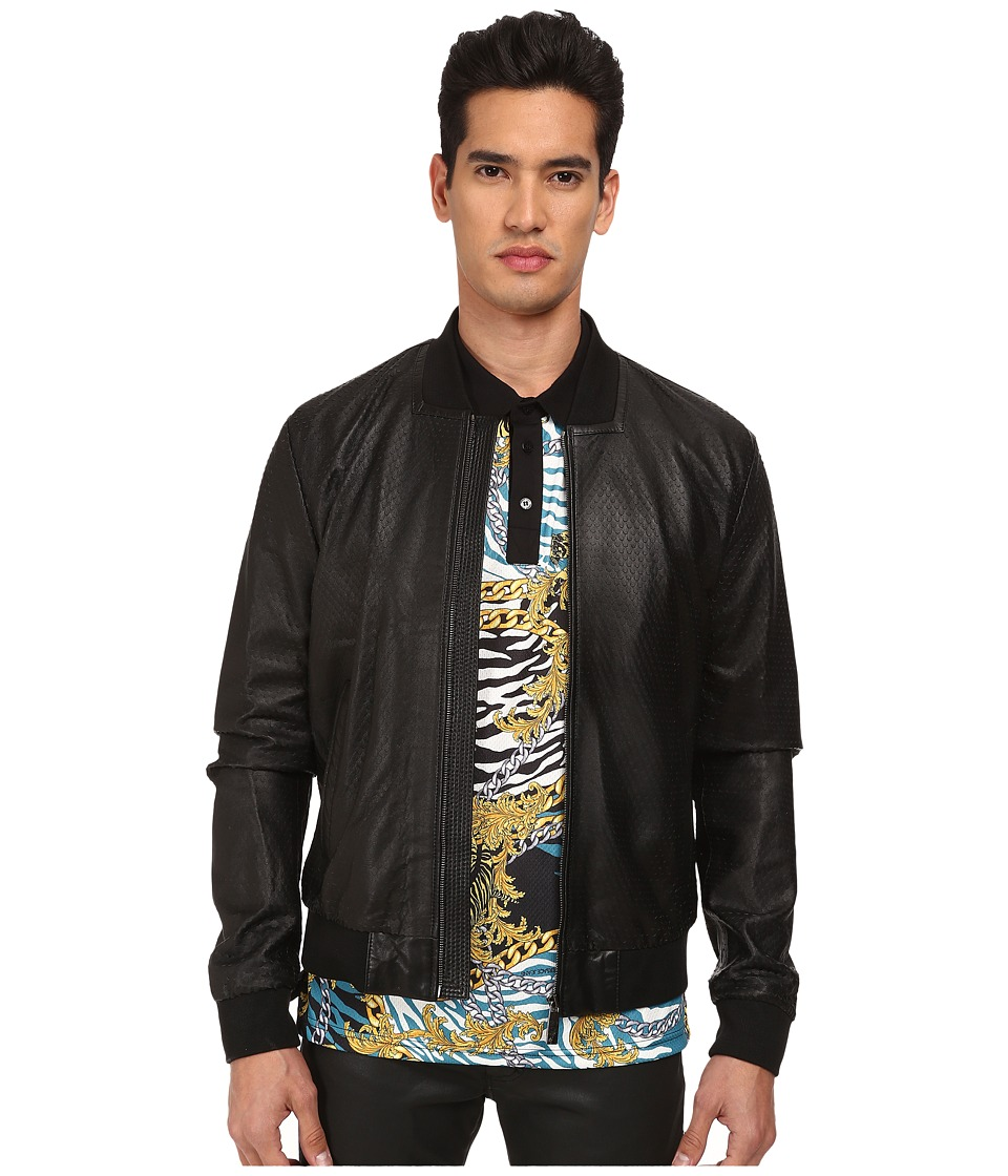Versace Collection - Perforated Leather Jacket (Black) Men