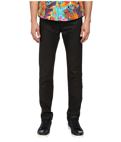 Versace Collection - Leather Trim Slim Fit 5-Pocket (Black) Men's Casual Pants