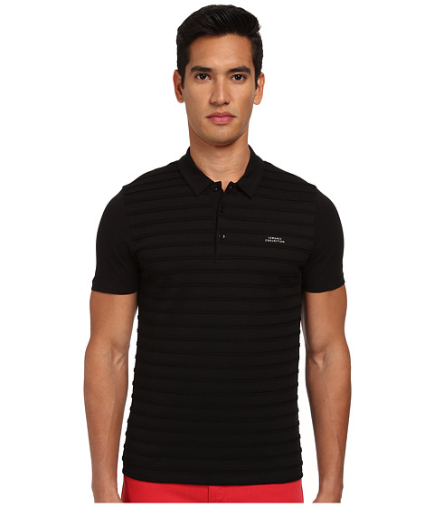 Versace Collection - Tonal Twist Stripe Polo (Black) Men
