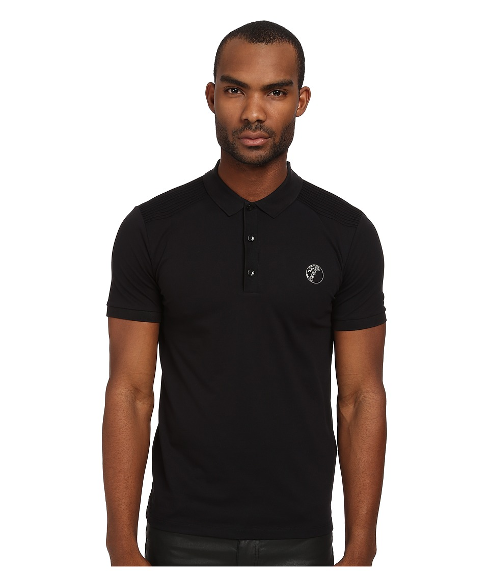 Versace Collection - Stretch Pique Polo (Black) Men's Short Sleeve Pullover