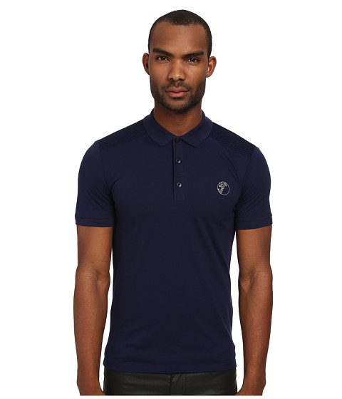 Versace Collection - Stretch Pique Polo (Navy) Men's Short Sleeve Pullover