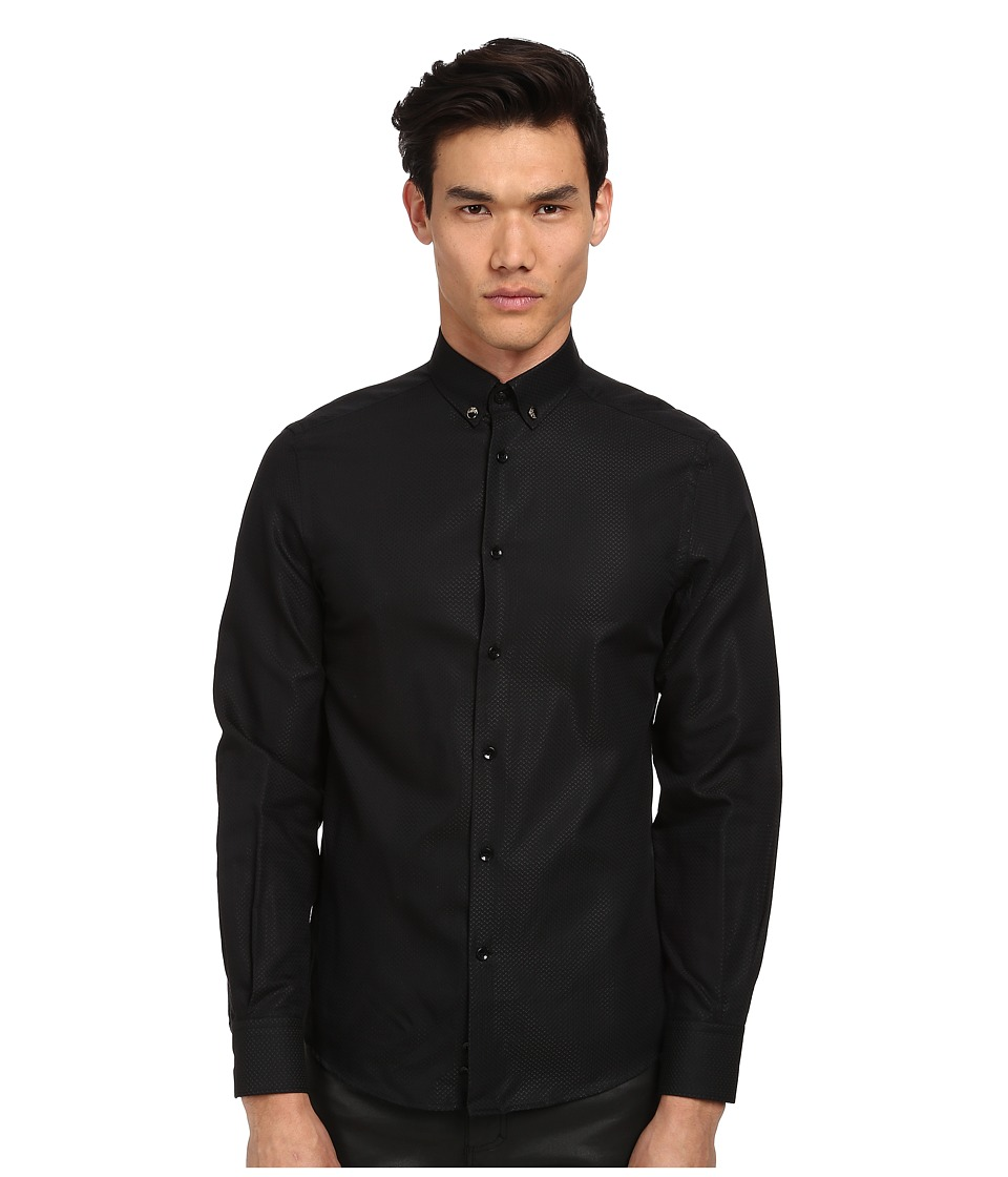 Versace Collection - Medusa Textured Solid Shirt (Black) Men