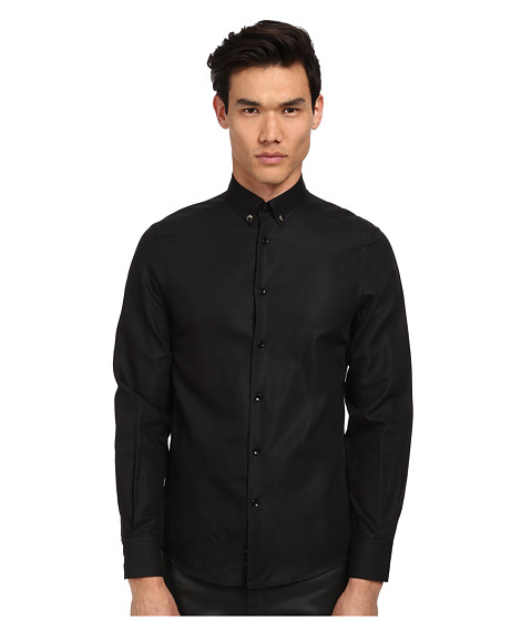 Versace Collection - Medusa Textured Solid Shirt (Black) Men's Clothing