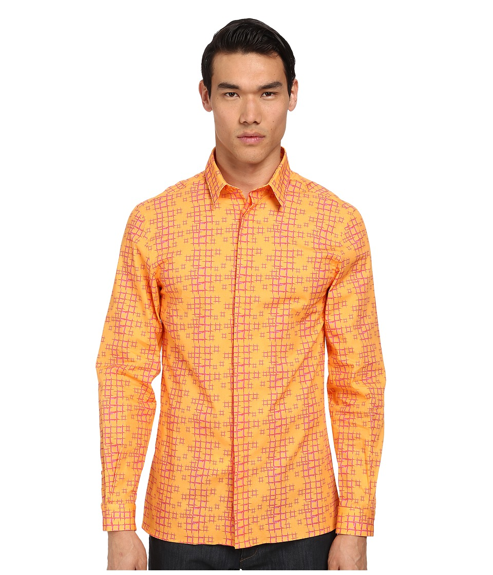 Versace Collection - Painted Geometric Print Shirt (Gold/Pink) Men's Long Sleeve Button Up