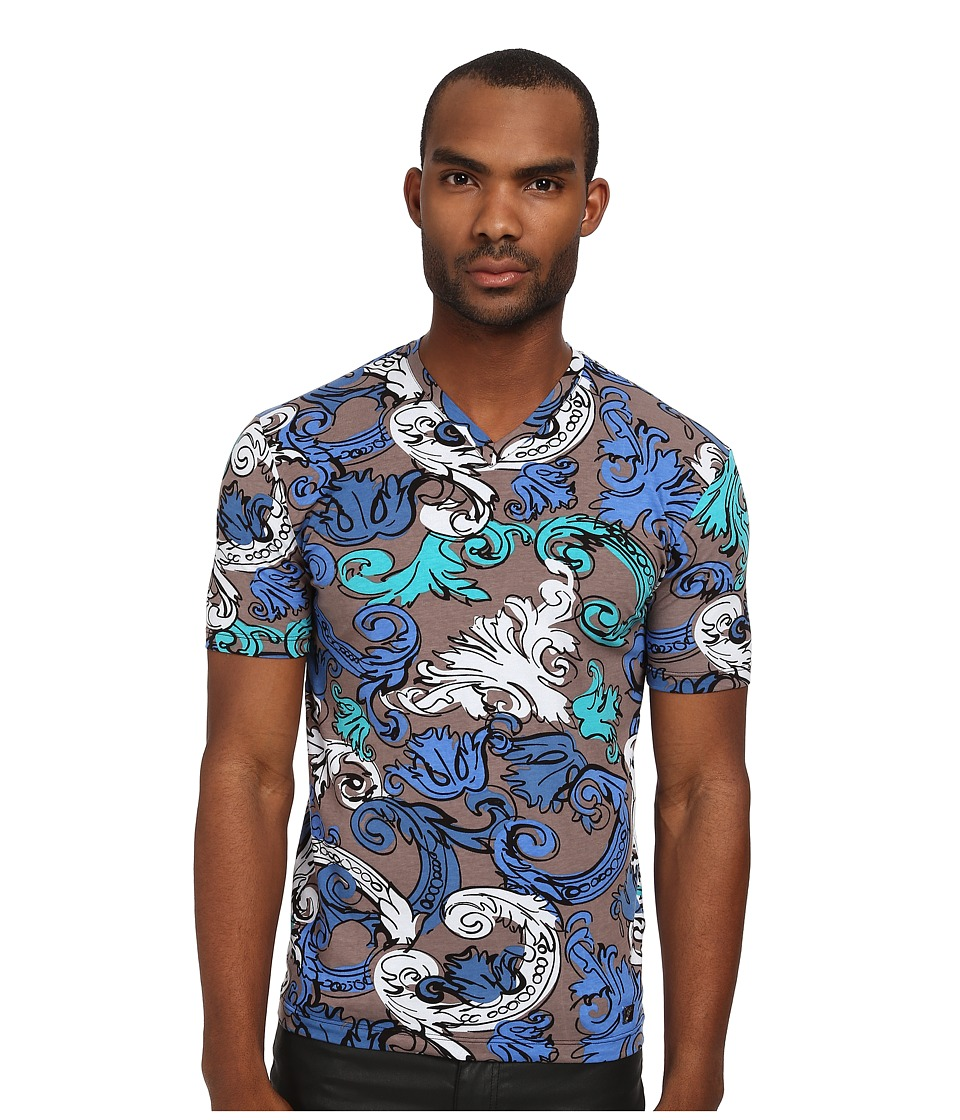 Versace Collection - Painted Baroque V-Neck Shirt (Teal Multi) Men