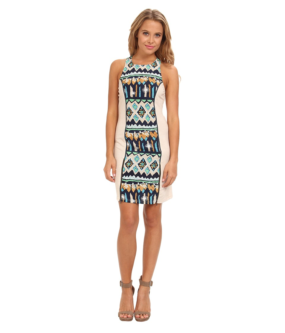 KAS New York Anemy Print Dress w/ Knit Sides (Blue) Women