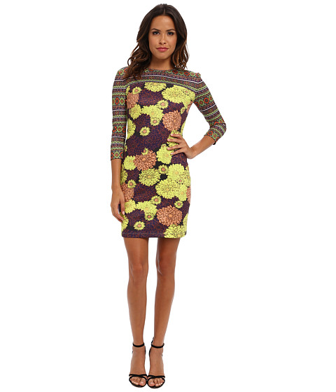 KAS New York - Lani 3/4 Sleeve Dress (Floral Print) Women's Dress